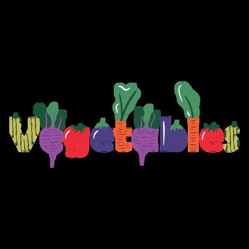 Healthy vegetables lettering