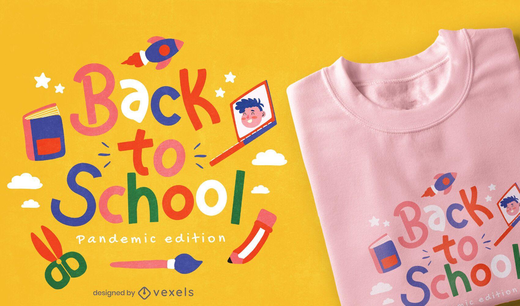 Diseño de camiseta de pandemia de regreso a la escuela.