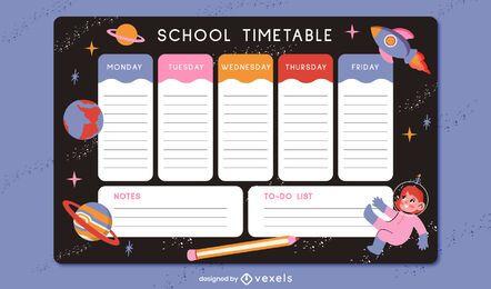 Diseño de planificador de espacio de regreso a la escuela