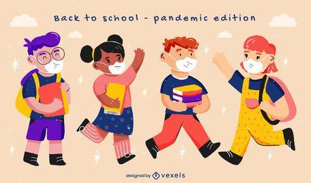 Conjunto de caracteres da pandemia de crianças de volta à escola