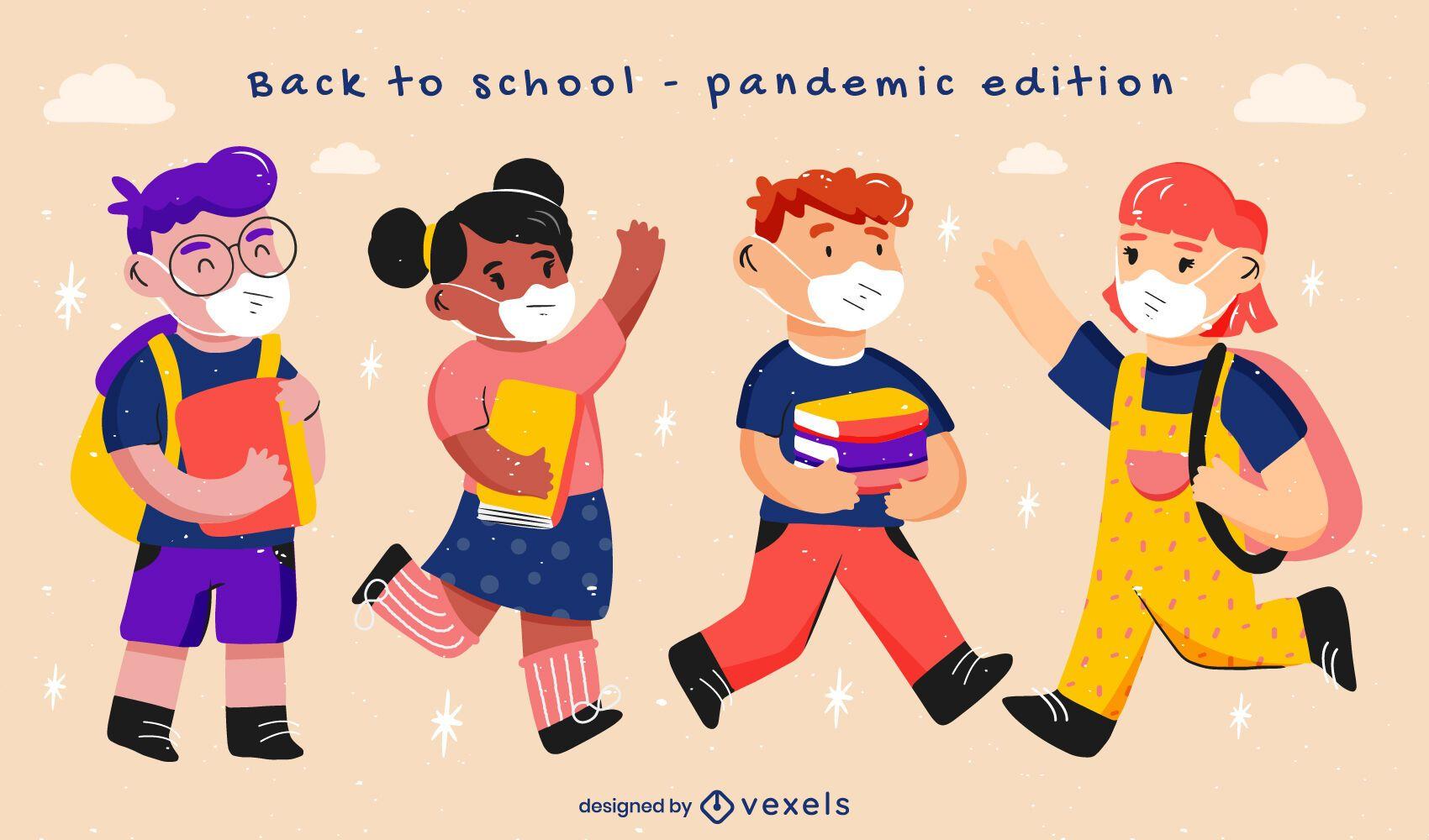 Niños de regreso a la escuela conjunto de caracteres pandémicos.