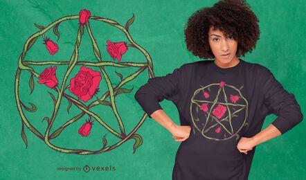 Design de camiseta floral com pentagrama rosa