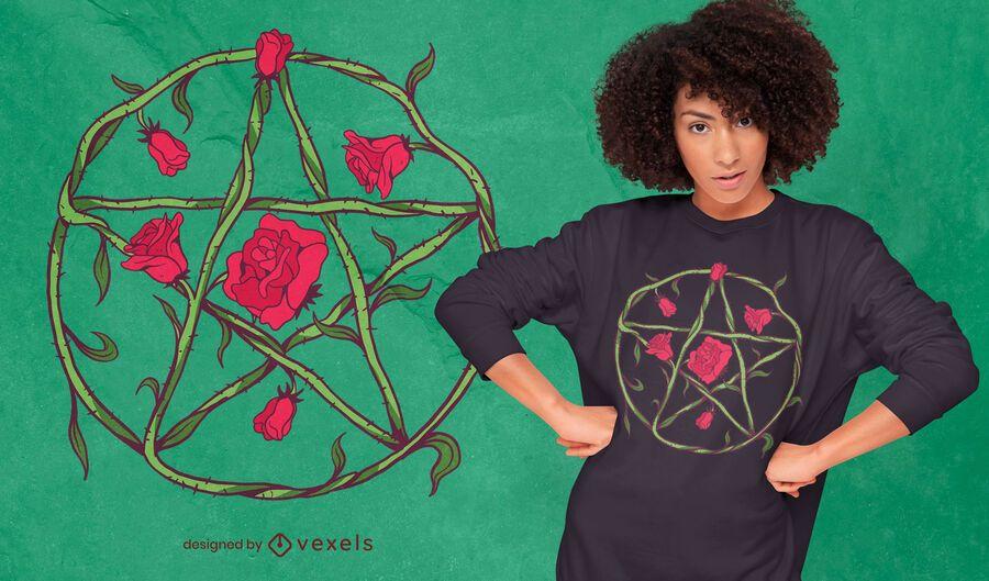 Diseño de camiseta floral pentagrama rosa