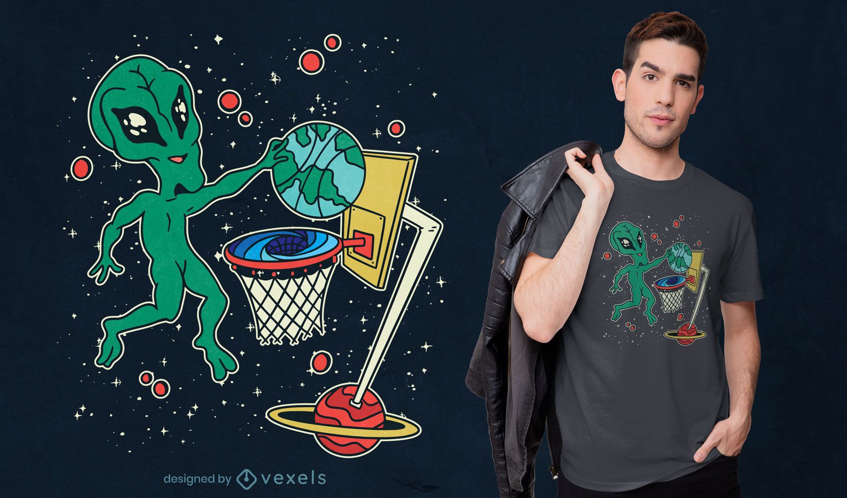 Alien playing space basketball t-shirt design