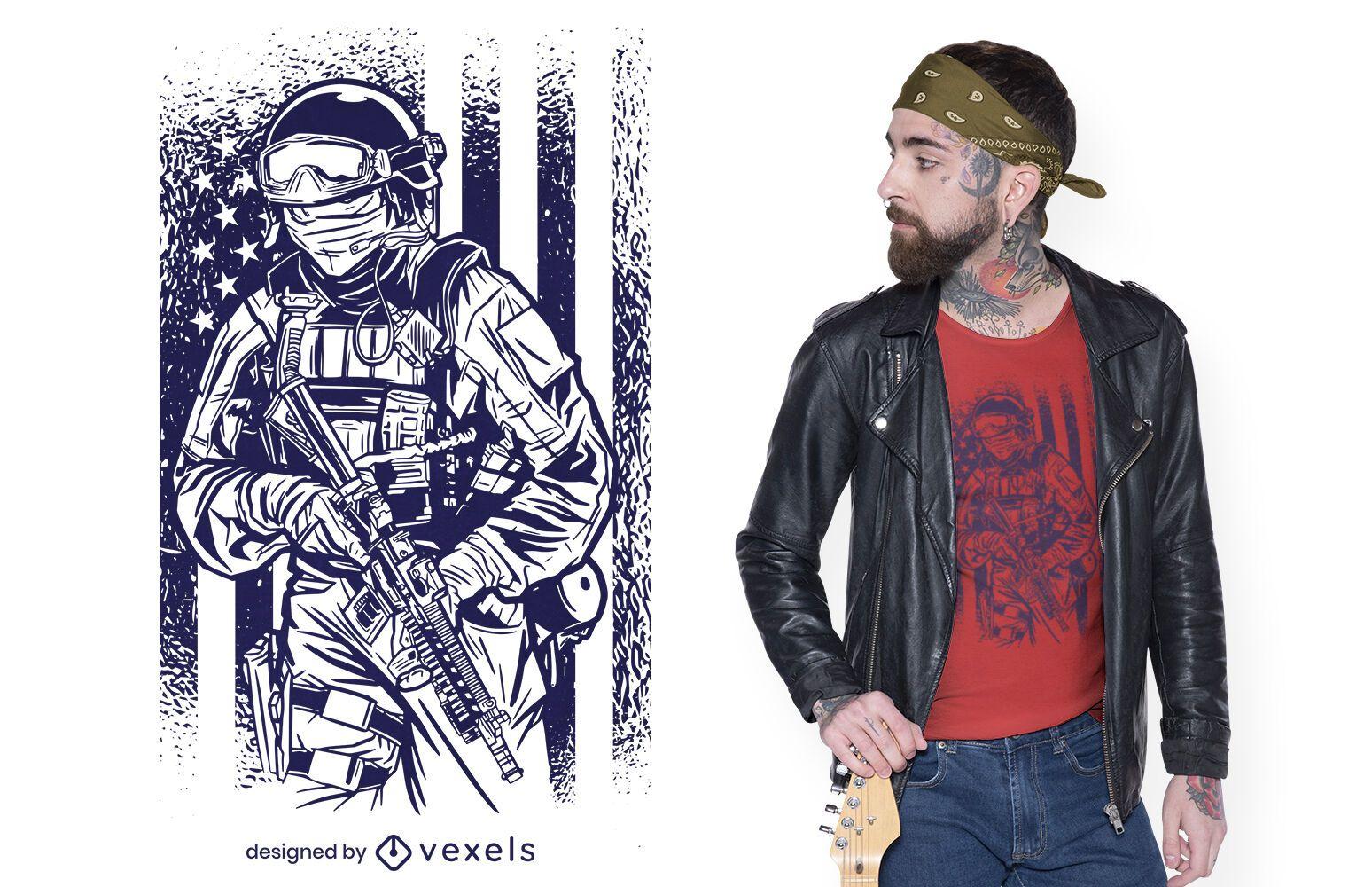 Dise?o de camiseta vintage de soldado americano