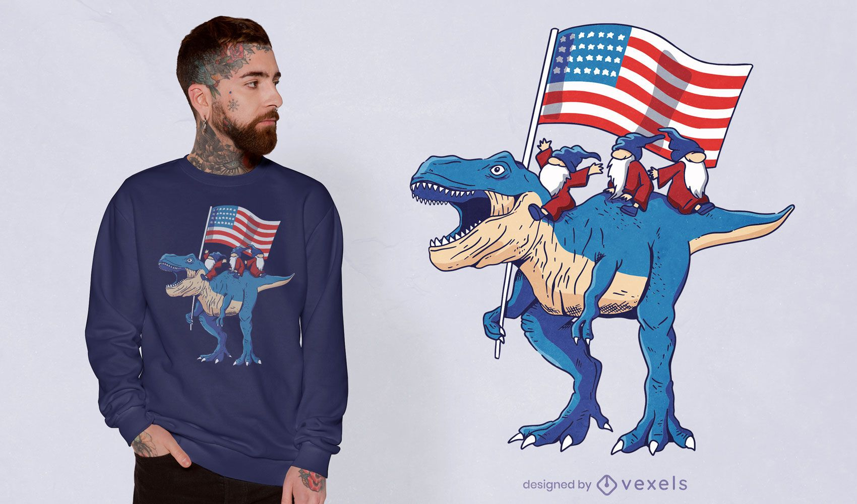 Gnomos montando t-rex com design de t-shirt de dinossauro