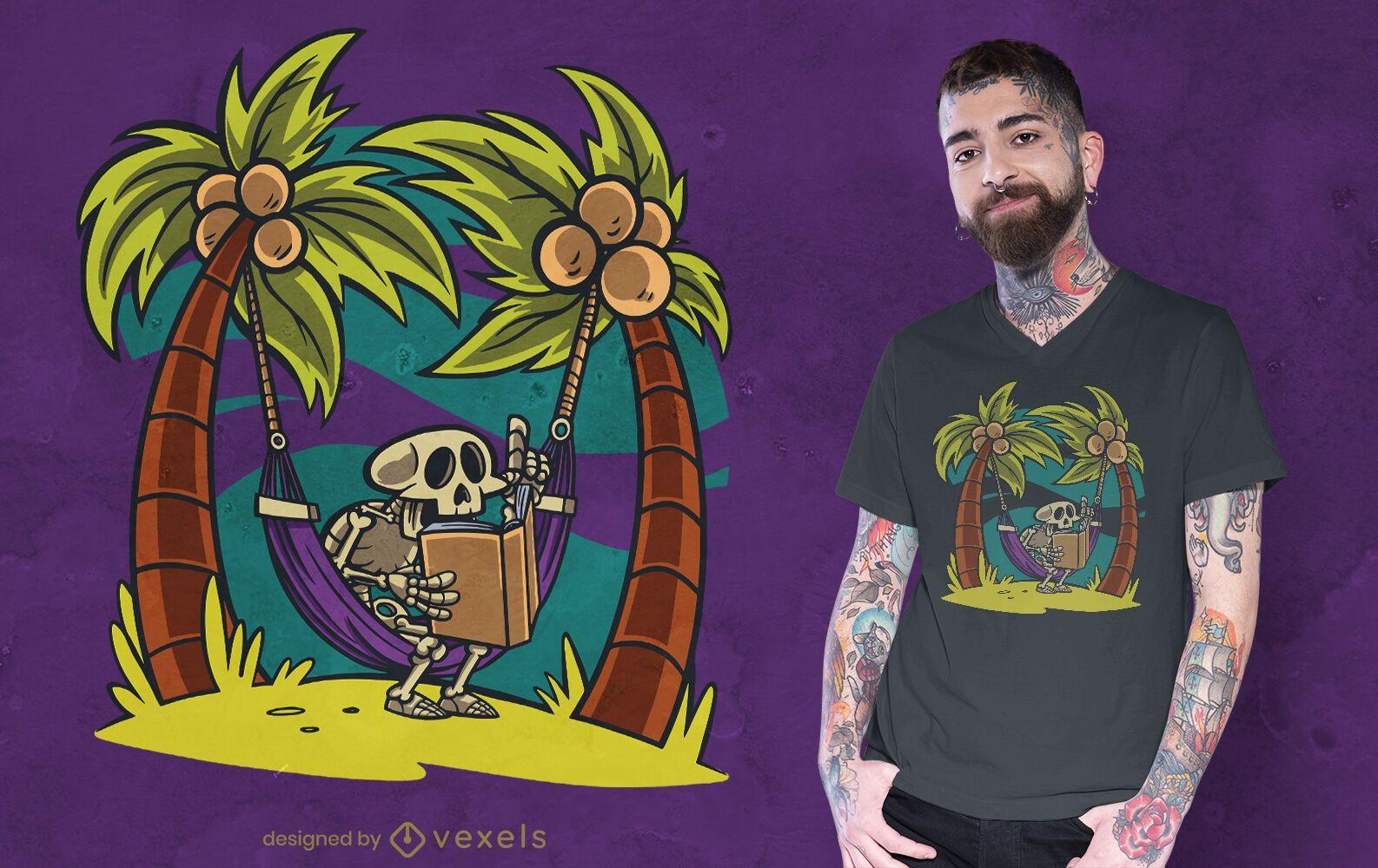 Skelettlesung auf Hängematten-T-Shirt Design