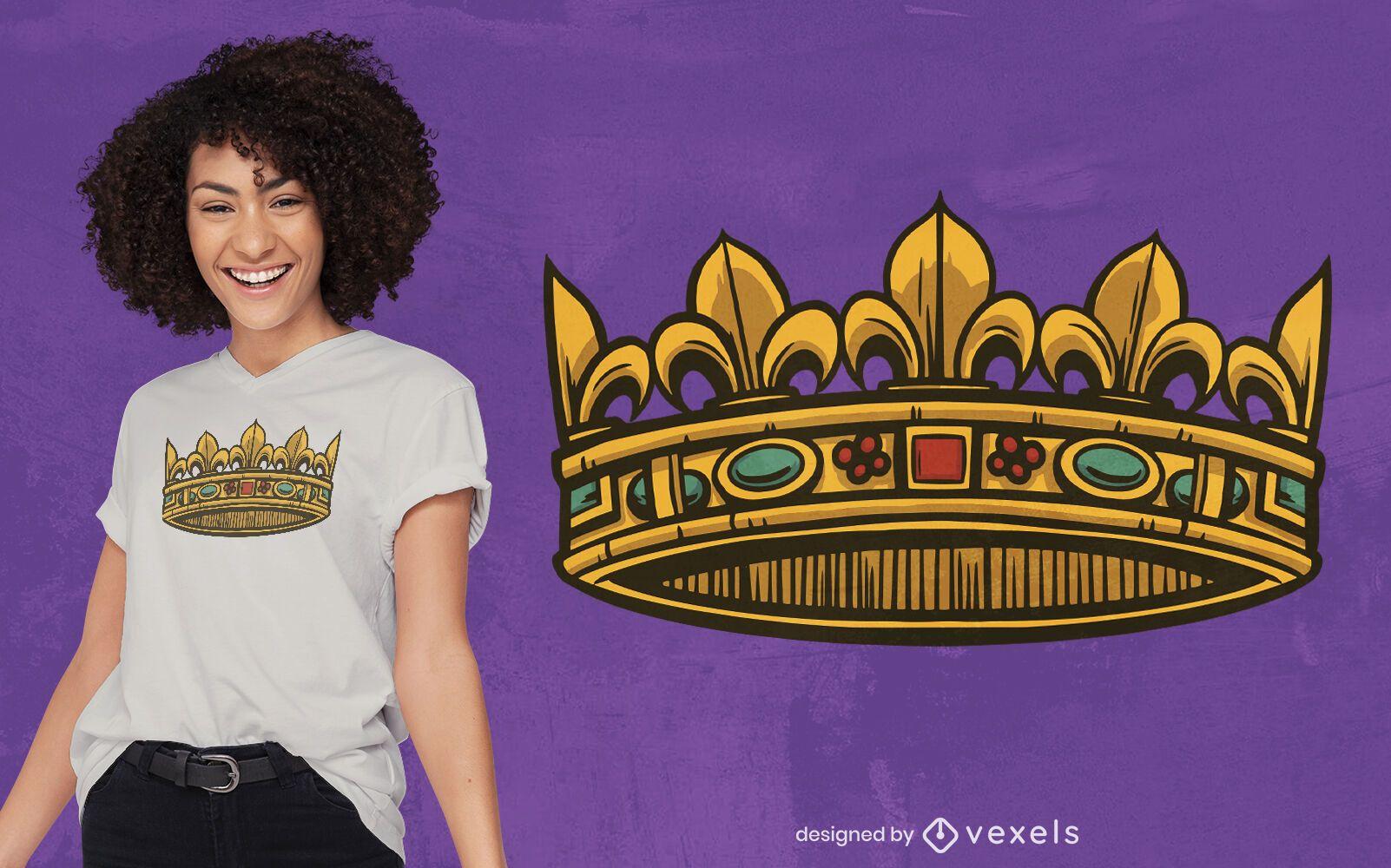 Diseño de camiseta corona dorada