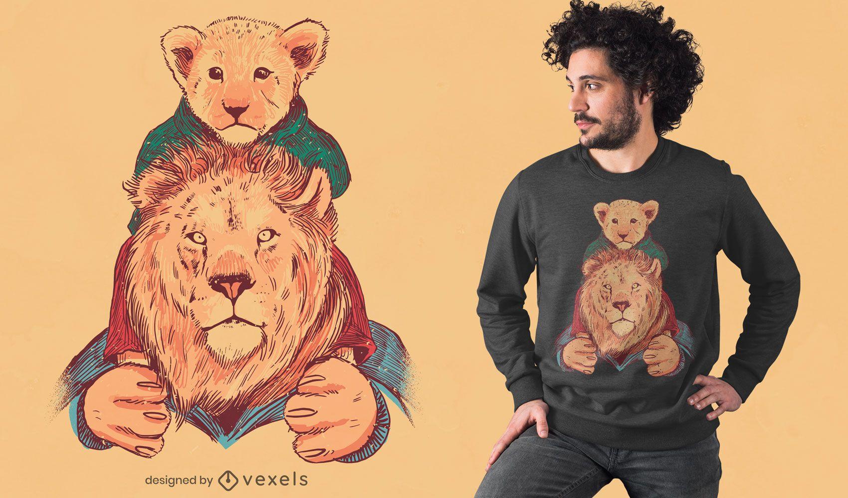 Desenho de t-shirt de pai e filho Leão