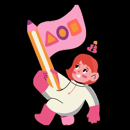 Astronaut girl with pencil flag semi flat