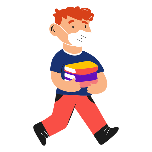 Kid with face mask and books semi flat