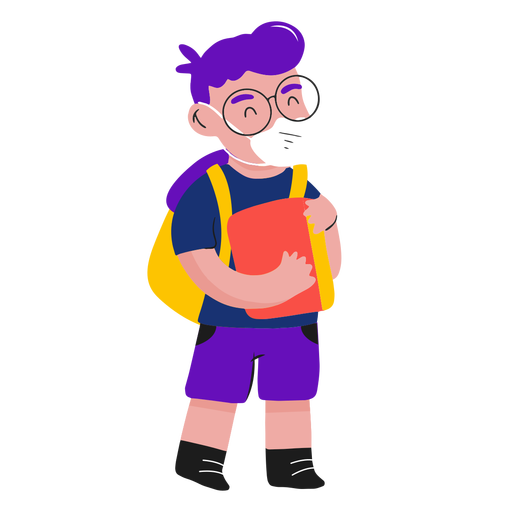 Kid with face mask and book semi flat