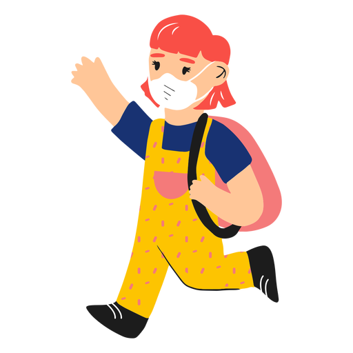 Girl with face mask and backpack semi flat
