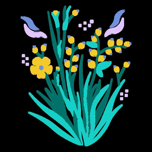 Wild yellow flowers semi flat
