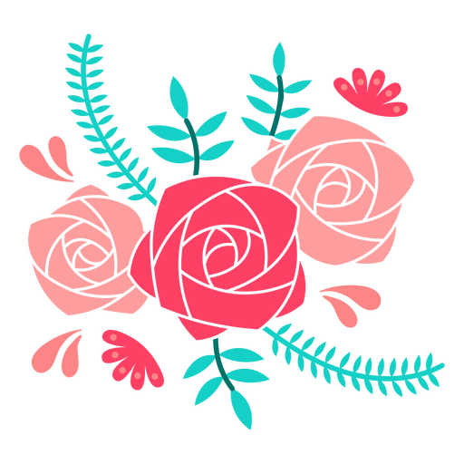 Roses and ferns flat