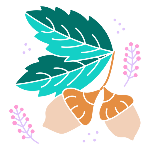 Plant and nuts color cut out