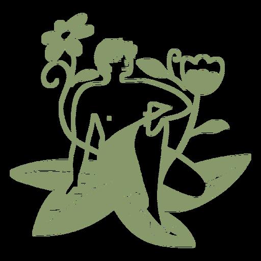 Boy in plants filled stroke