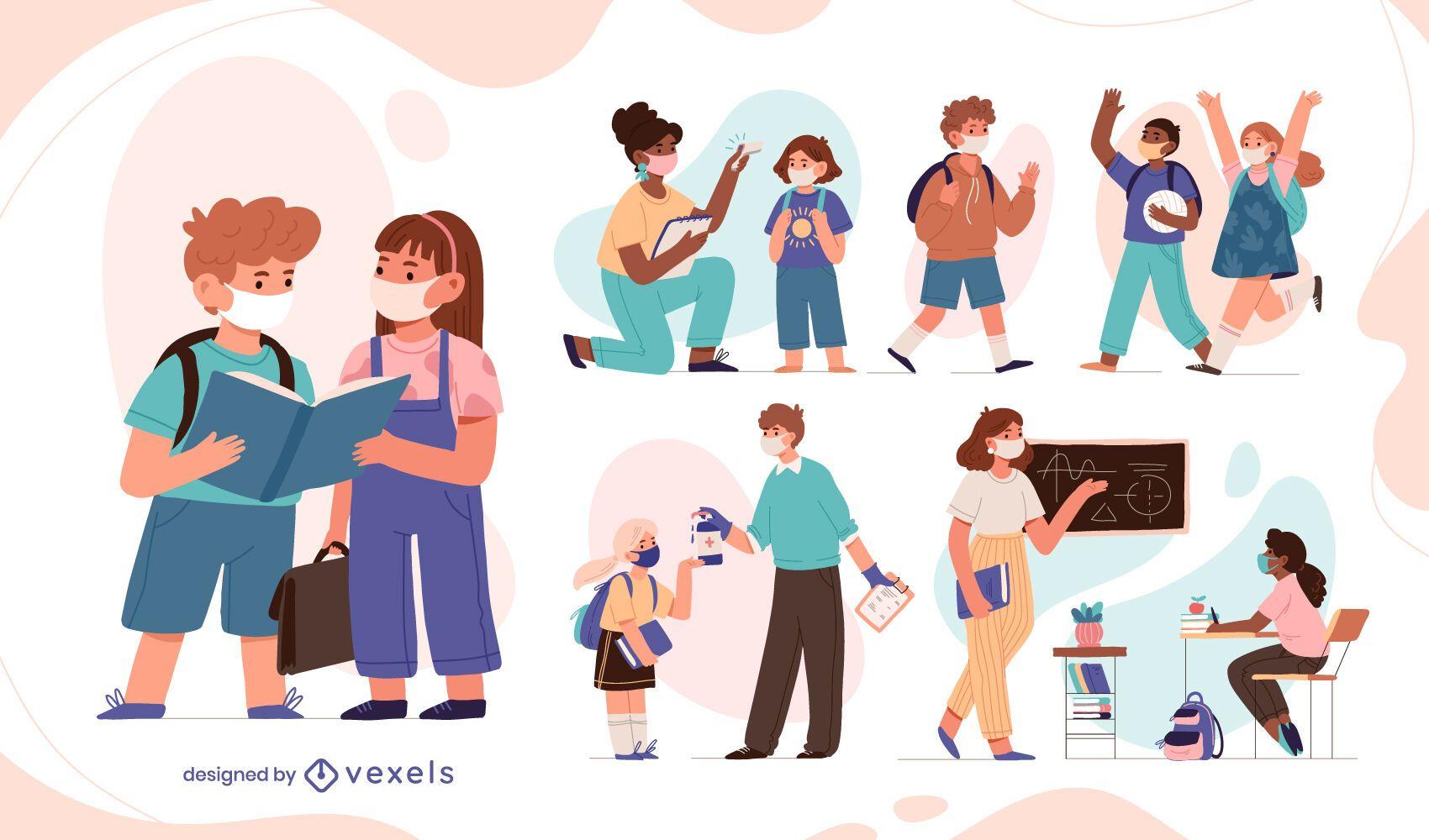 Conjunto de caracteres de estudiantes de pandemia de regreso a la escuela