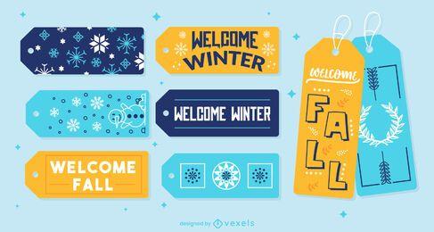 Conjunto de etiqueta para presente de inverno e outono