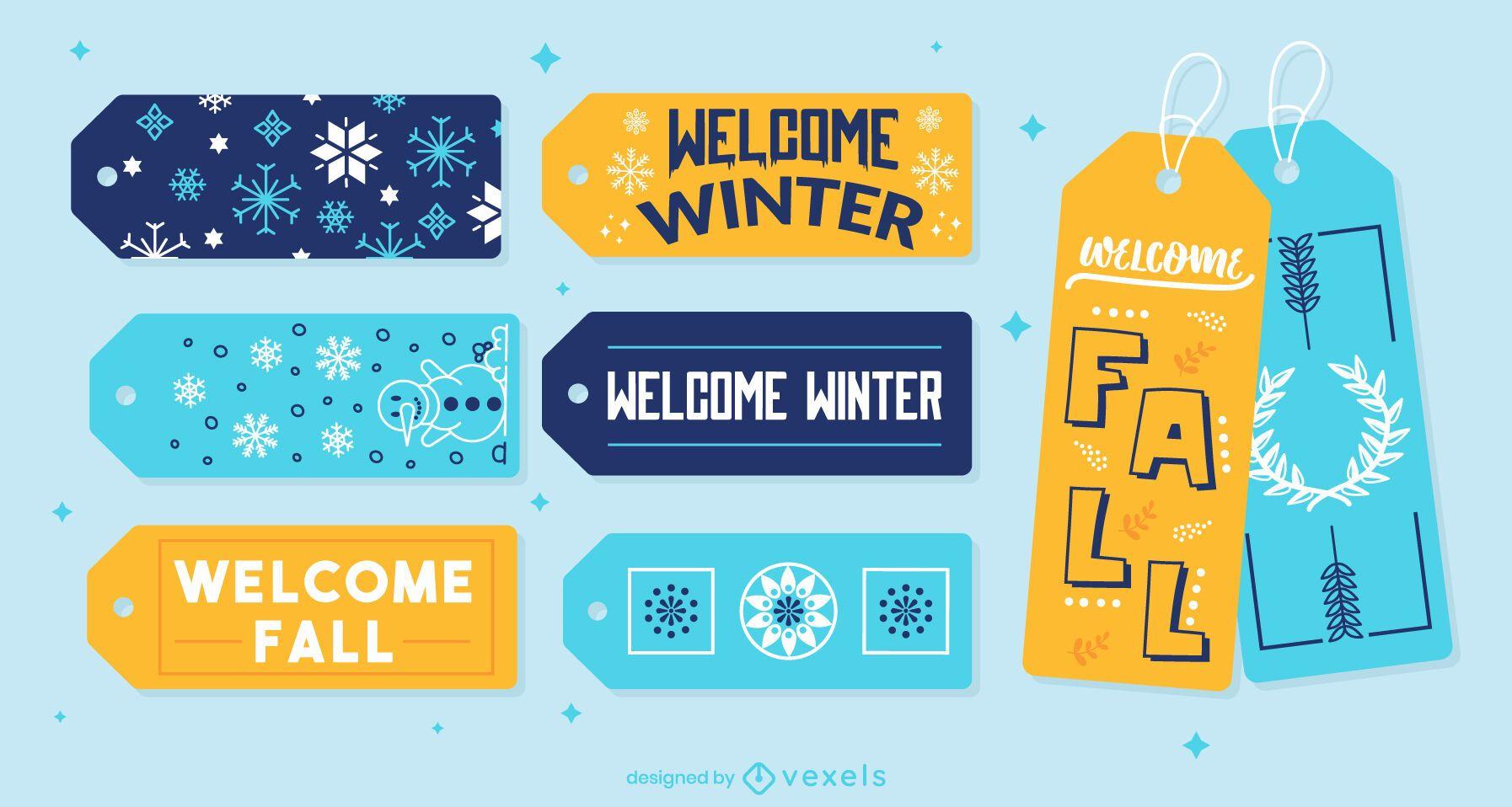 Set de regalo con etiqueta colgante de invierno y otoño