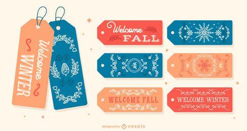 Set de regalo de etiqueta colgante de invierno y otoño