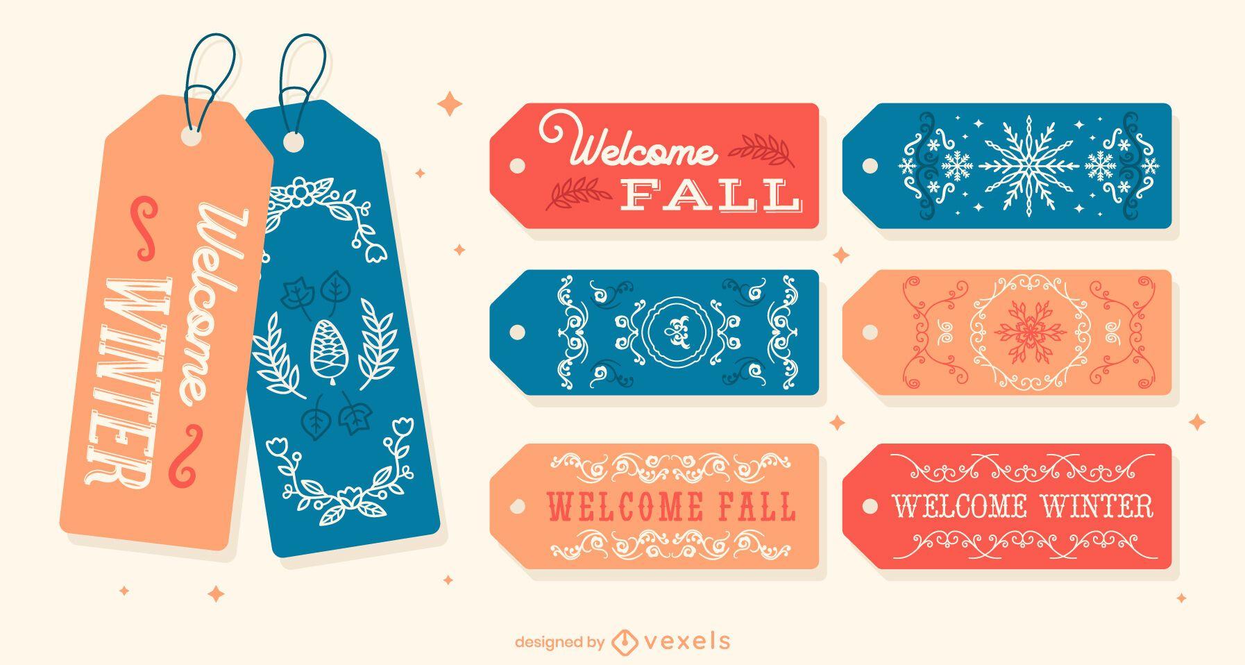 Winter and fall hang tag gift set