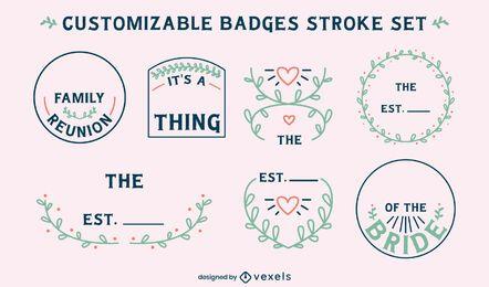 Conjunto personalizável de emblemas familiares