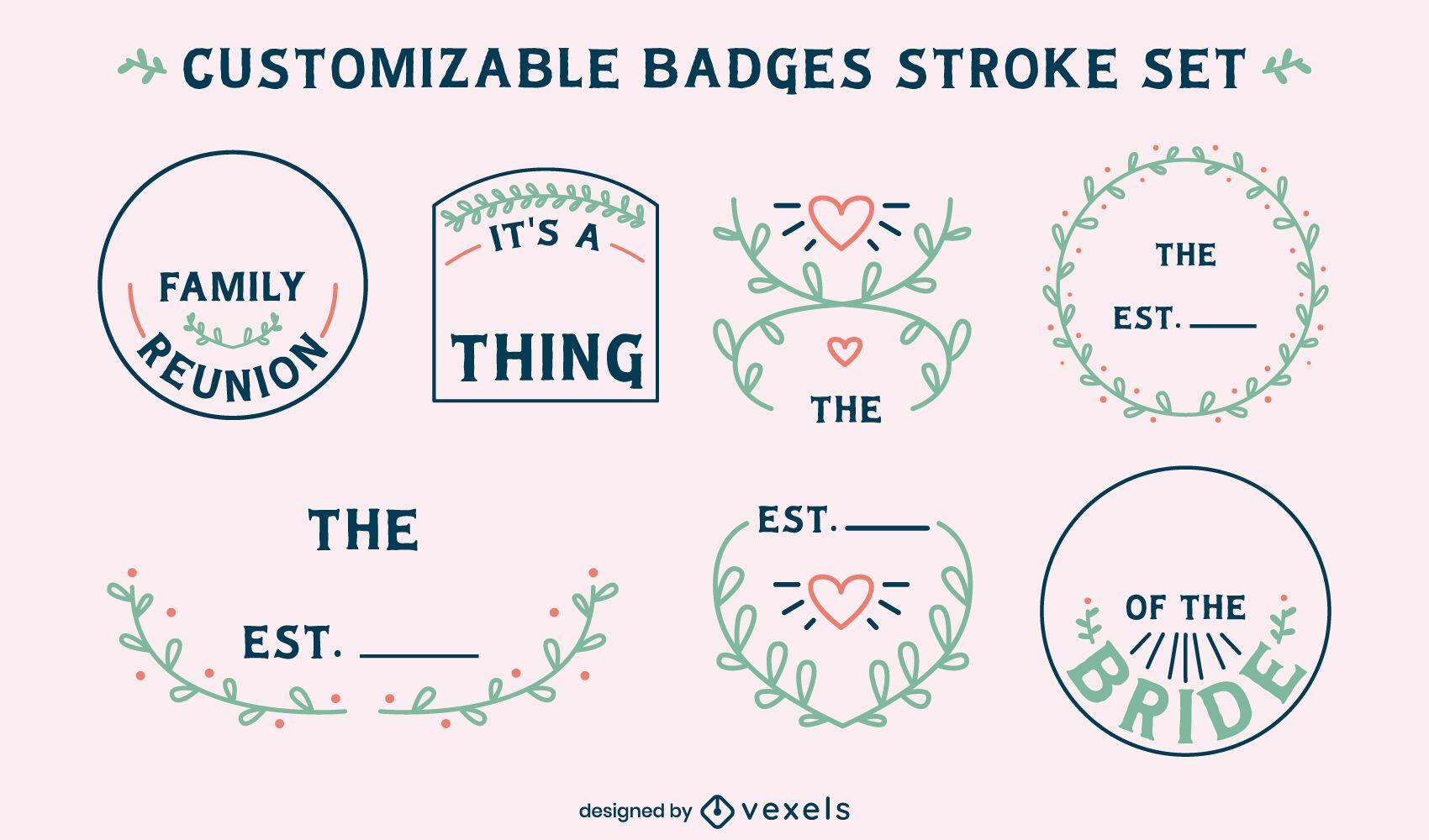 Family badges customizable set