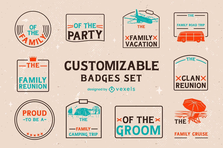 Conjunto personalizable de insignias retro familiares