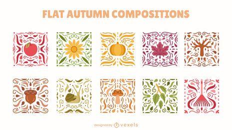 Conjunto de naturaleza de mosaicos de temporada de otoño.