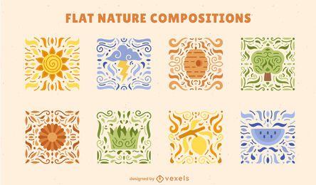 Conjunto de composição colorida de mosaicos naturais