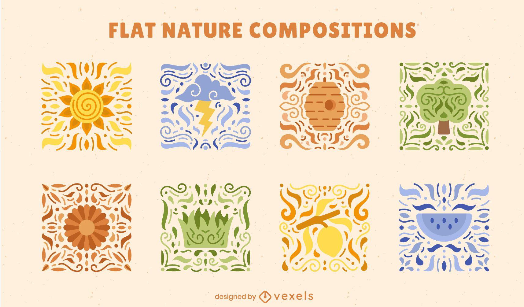 Conjunto de composición colorida de mosaicos de naturaleza