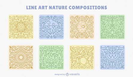 Conjunto de composição de arte em linha de mosaicos da natureza