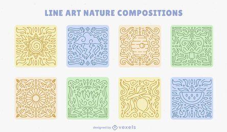 Conjunto de composición de arte de línea de mosaicos de naturaleza.