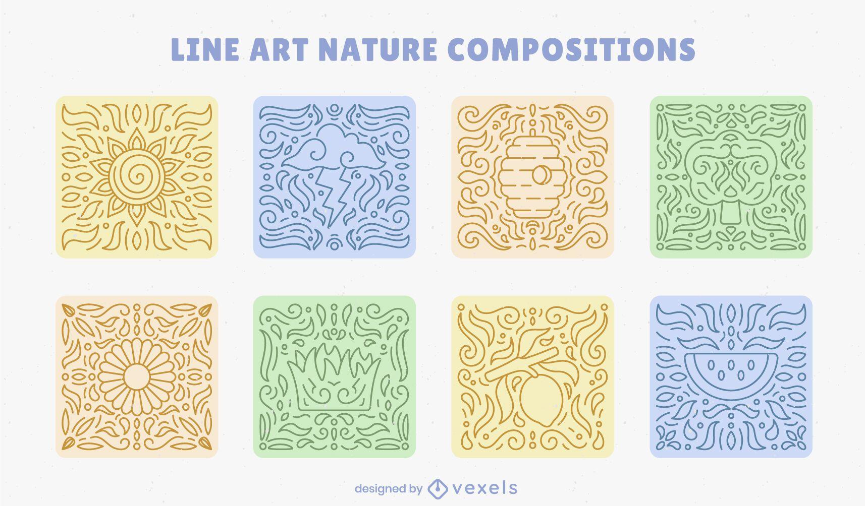 Nature mosaics line art composition set