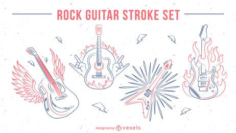 Guitar musical instruments line art set