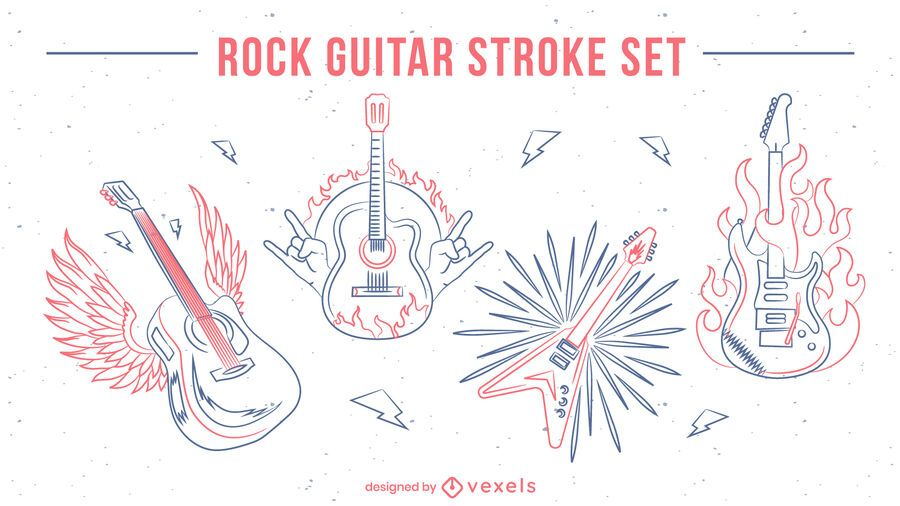 Guitar musical instruments line art set