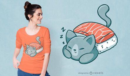 Diseño de camiseta de manta de sushi de gato durmiendo
