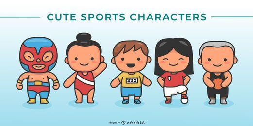Lindo conjunto de caracteres deportivos internacionales.