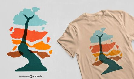 Abstract tree color stains t-shirt design