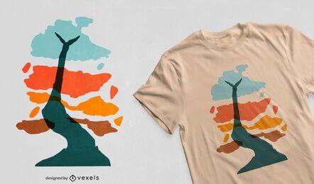 Desenho de t-shirt de manchas de cor de árvore abstrata