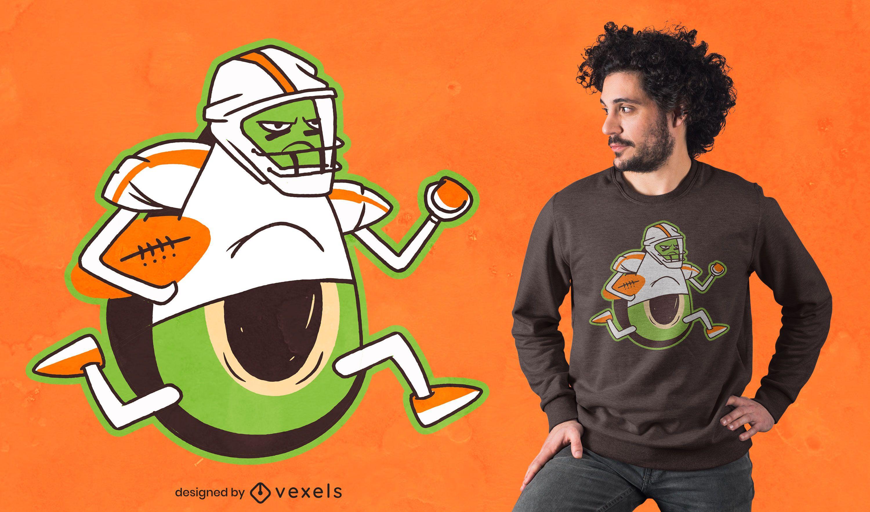 Avocado football player t-shirt design