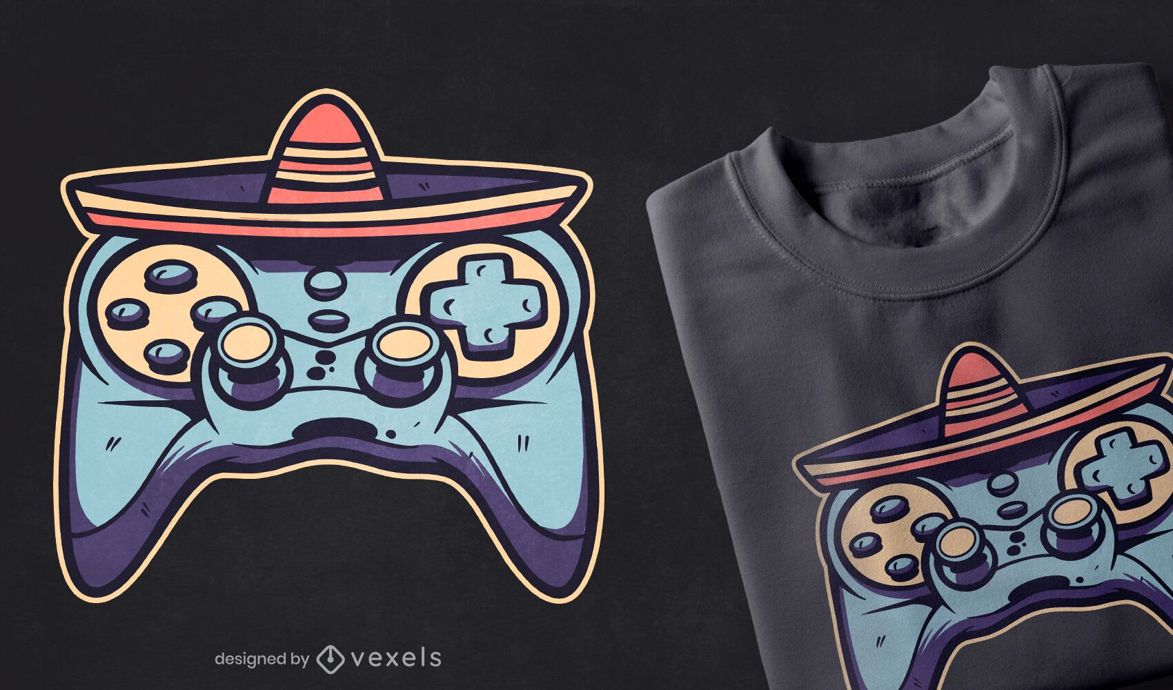 Diseño de camiseta de joystick de cinco de mayo.