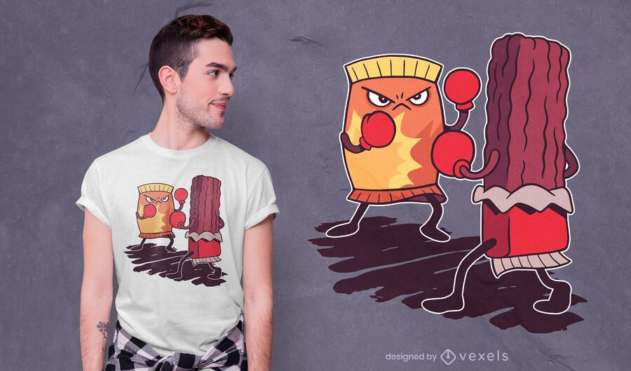Diseño de camiseta de lucha de boxeo de comida chatarra.