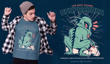 Diseño de camiseta de criatura monstruo Chupacabra.