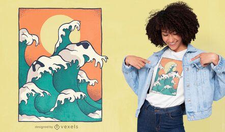 Diseño de camiseta de cara de perro de olas del océano.