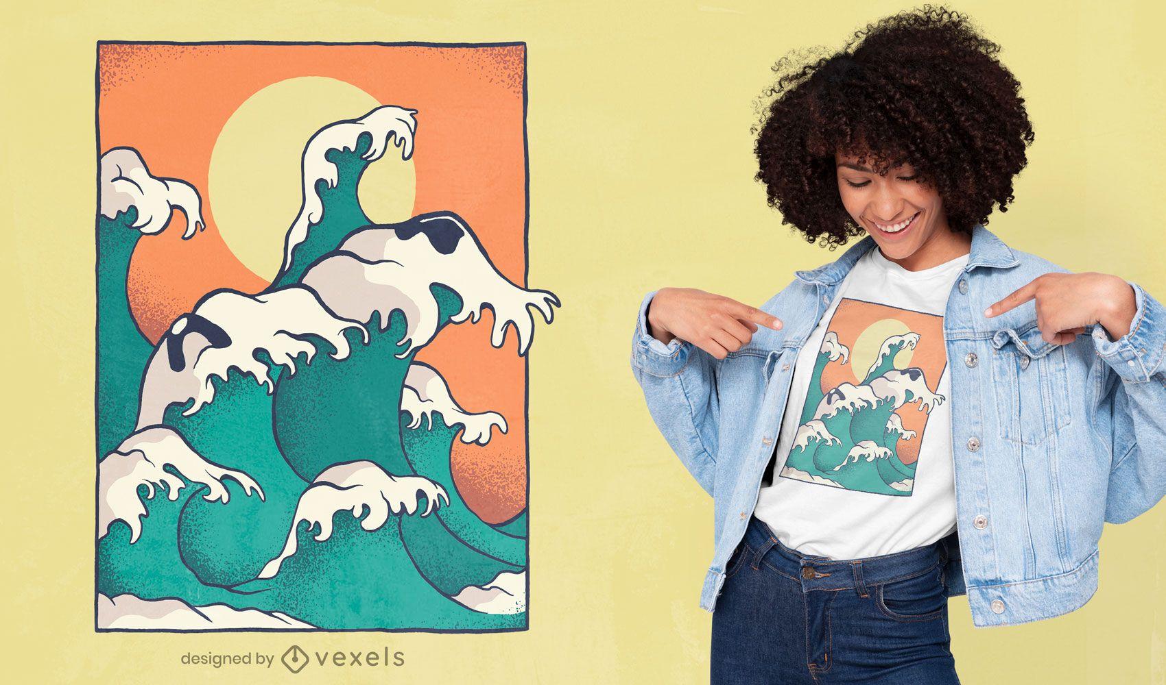Ocean waves dog face t-shirt design