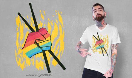 Diseño de camiseta de colores LGBT de baquetas.