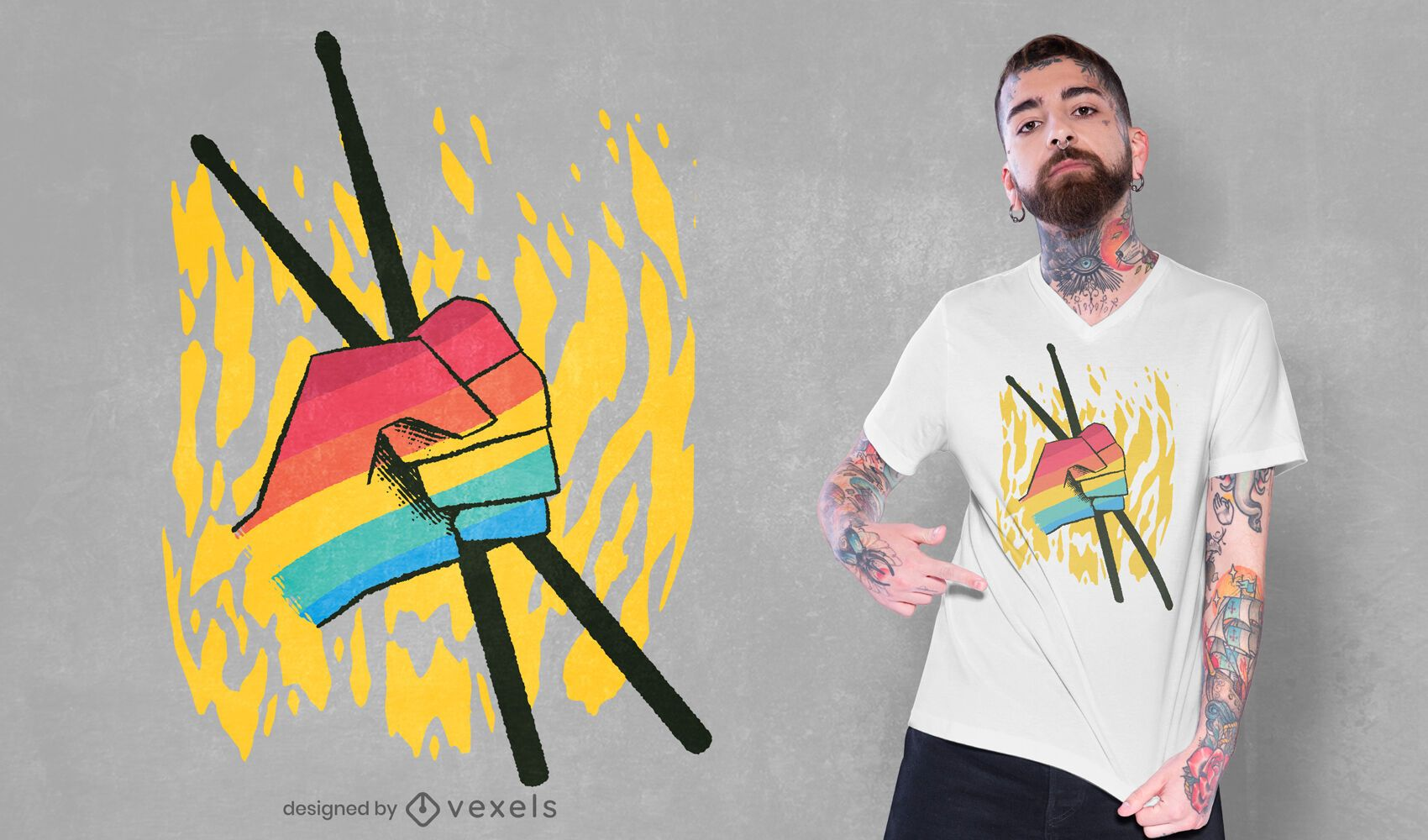 Drumsticks LGBT colors t-shirt design