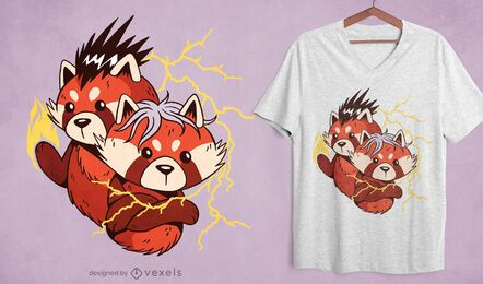 Powerful red panda cartoon t-shirt design